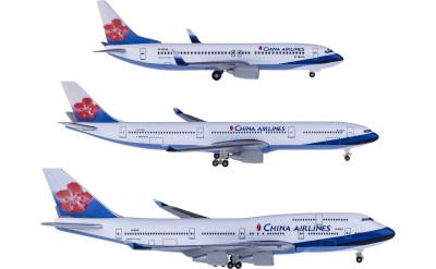 Herpa 1:500 中华航空 Boeing 747-400 B-18207;737-800 B-18616;Airbus A330-300 B-18312 套装